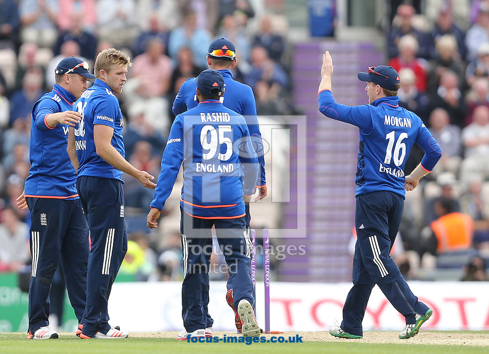 David Willey ( 2nd L ) of England celebrates after taking the wicket of Ross Taylor ( not pictured ) of New Zealand during the Royal London One Day Series match at the Ageas Bowl, West End<br /> Picture by Paul Terry/Focus Images Ltd +44 7545 642257<br /> 14/06/2015