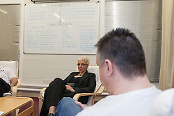 Prisoners in a group workshop to help them deal with being in prison, UK