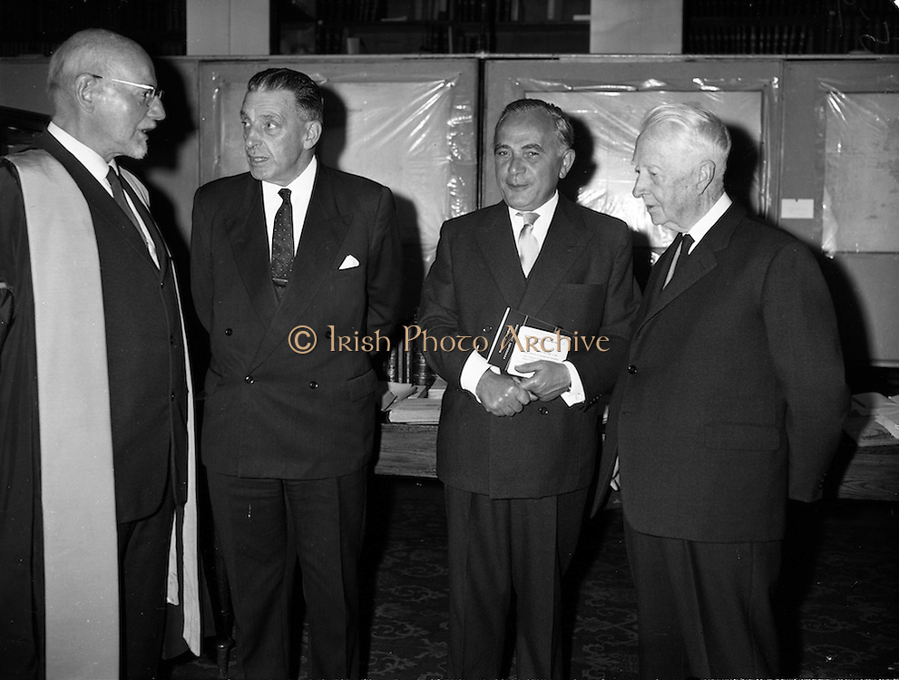 12/09/1961<br /> 09/12/1961<br /> 12 September 1961<br /> John Lighton Synge, (left)  President of the Royal Irish Academy and Taoiseach Sean Lemass (2nd from left) at the Opening of the O'Donovan -O'Curry Public exhibition of works at the R.I.A., Dawson Street Dublin. John O'Donovan and Eugene O'Curry were noted scholars of the Irish language in the 19t century and conducted extensive research for the Ordinance Survey Office on Irish place names.