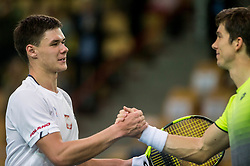 Kamil Majchrzak of Poland and Aljaz Bedene during the Day 2 of Davis Cup 2018 Europe/Africa zone Group II between Slovenia and Poland, on February 4, 2018 in Arena Lukna, Maribor, Slovenia. Photo by Vid Ponikvar / Sportida