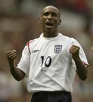 Photo: Aidan Ellis.<br /> England v Andorra. European Championships 2008 Qualifying. 02/09/2006.<br /> England's Jermain Defoe celebrates his first goal and teams second