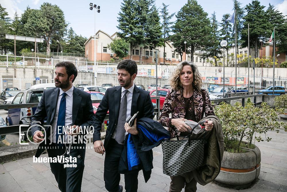Potenza, Basilicata, Italia, 19/05/2016.<br /> La senatrice Monica Cirinn&agrave; e il deputato Roberto Speranza arrivano al Tribunale di Potenza per l'incontro sulla Stepchild Adoption con i giovani avvocati lucani<br /> <br /> Potenza, Basilicata, Italy, 19/05/2016<br /> Senator Monica Cirinn&agrave; and membero of Parliament Roberto Speranza arrive at the courthouse in Potenza for the meeting on Stepchild Adoption with young lawyers of Basilicata