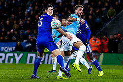 Kyle Walker of Manchester City challenges Harry Maguire of Leicester City - Mandatory by-line: Robbie Stephenson/JMP - 18/12/2018 - FOOTBALL - King Power Stadium - Leicester, England - Leicester City v Manchester City - Carabao Cup Quarter Finals