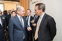 18 JUN 2018, BERLIN/GERMANY:<br /> Olaf Scholz (L), SPD, Bundesfinanzminister, und Dr. Joerg Kukies (R), Staatssekretaer im Bundesministerium der Finanzen, im Gespraech, Veranstaltung Wirtschaftsforum der SPD: &quot;Finanzplatz Deutschland 2030 - Vision, Strategie, Massnahmen!&quot;, Haus der Commerzbank<br /> IMAGE: 20180618-01-038<br /> KEYWORDS: J&ouml;rg Kukies, Gespr&auml;ch