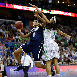 April 7, 2013; New Orleans, LA, USA; Connecticut Huskies guard Bria Hartley (14) shoots against Notre Dame Fighting Irish guard Skylar Diggins (4) during the second half in the semifinals during the 2013 NCAA womens Final Four at the New Orleans Arena. Connecticut defeated Notre Dame 83-65. Mandatory Credit: Derick E. Hingle-USA TODAY Sports