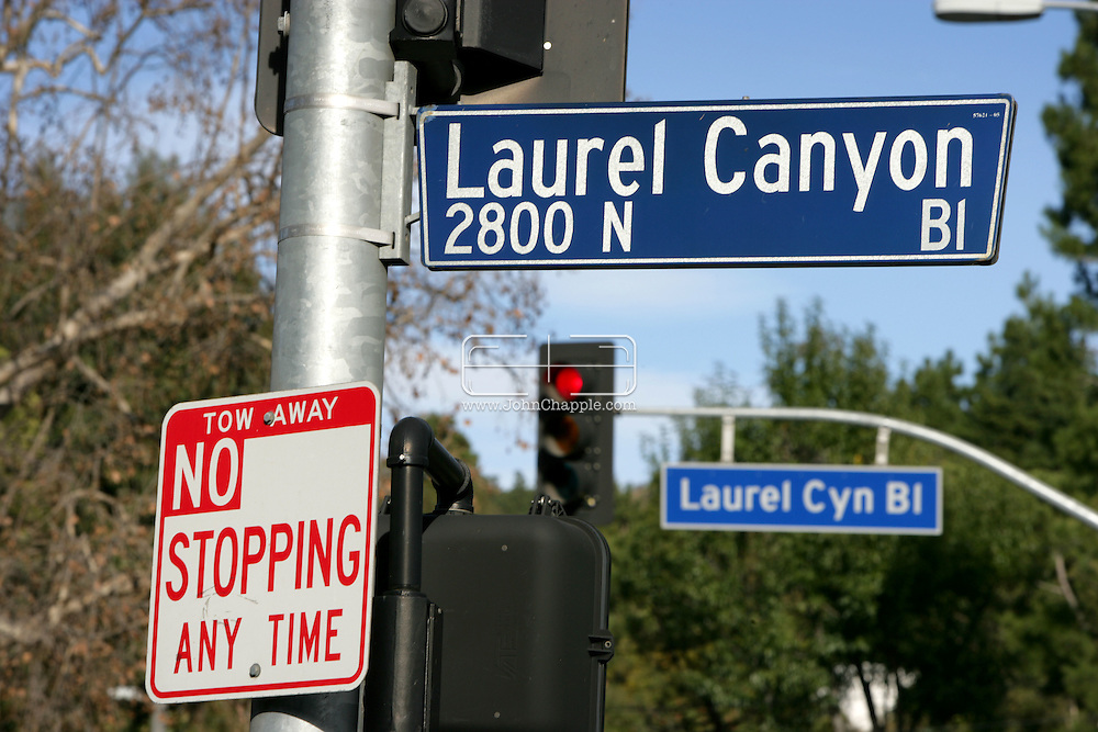 2nd January 2008, Los Angeles, California. Laurel Canyon, a hillside section of Los Angeles near West Hollywood, which no longer rings with music in quite the way it did in the 1960's and 70's when it was home to rock legends like Jim Morrison and Frank Zappa. Other famous residents have included Justin Timberlake, Robert Mitchum, Errol Flynn, Joni Mitchell & Graham Nash, Keith Richards, Keith Moon, Orson Welles, Slash, Jennifer Aniston, Meg Ryan, and Harry Houdini. The canyon road is an important transit corridor between West Hollywood and the San Fernando Valley..PHOTO © JOHN CHAPPLE / REBEL IMAGES.john@chapple.biz    www.chapple.biz