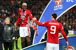 Paul Pogba and Zlatan Ibrahimovic of Manchester United with the EFL Trophy - Mandatory by-line: Matt McNulty/JMP - 26/02/2017 - FOOTBALL - Wembley Stadium - London, England - Manchester United v Southampton - EFL Cup Final