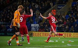 BOLTON, ENGLAND - Saturday, January 21, 2011: Liverpool's Craig Bellamy celebrates scoring the first goal against Bolton Wanderers during the Premiership match at the Reebok Stadium. (Pic by David Rawcliffe/Propaganda)