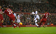 Yannick Bolasie of Crystal Palace scores his team's 1st goal to make it 1-0 during the Barclays Premier League match at Anfield, Liverpool<br /> Picture by Russell Hart/Focus Images Ltd 07791 688 420<br /> 08/11/2015