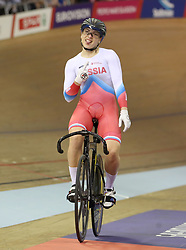 Russia's Daria Shmeleva celebrates winning the Gold Medal in the Womens Sprint Final during day four of the 2018 European Championships at the Sir Chris Hoy Velodrome, Glasgow.