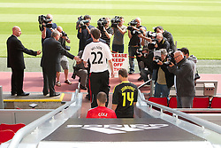 LIVERPOOL, ENGLAND - Tuesday, July 27, 2010: Liverpool FC's new signings Danny Wilson, Milan Jovanovic and Joe Cole emerge from the tunnel for a photo-call at Anfield. (Pic by David Tickle/Propaganda)