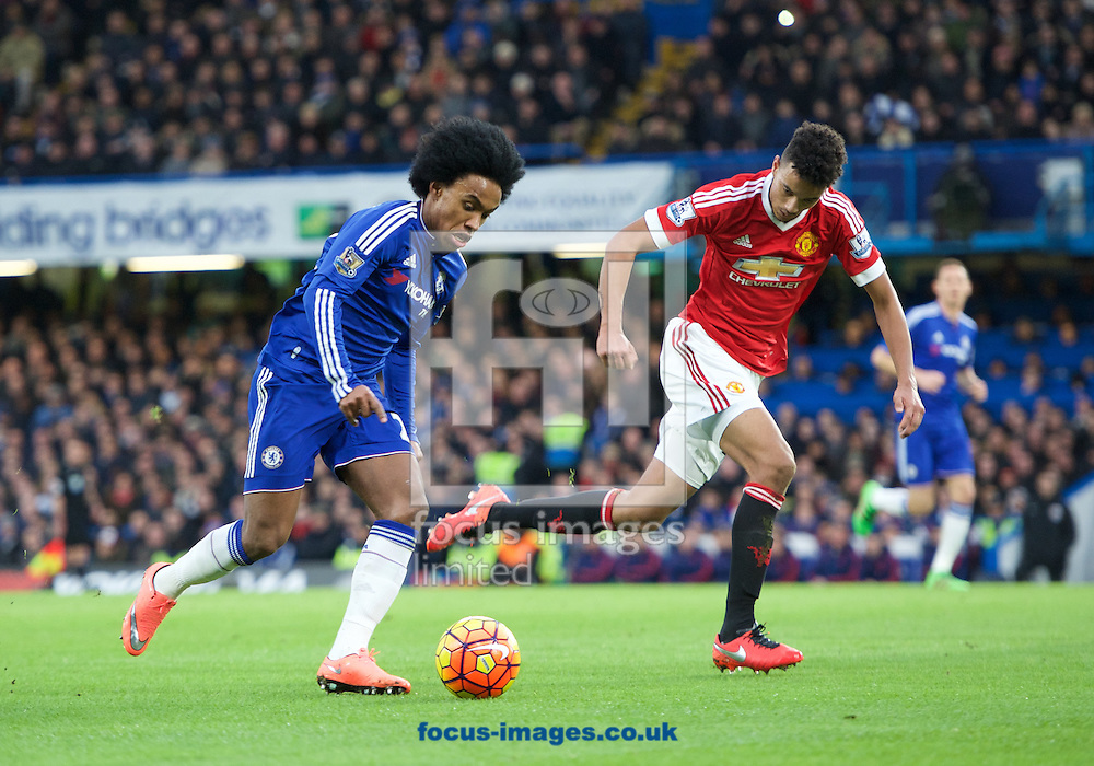 Willian of Chelsea and Cameron Northwick-Jackson of Manchester United during the Barclays Premier League match at Stamford Bridge, London<br /> Picture by Alan Stanford/Focus Images Ltd +44 7915 056117<br /> 07/02/2016
