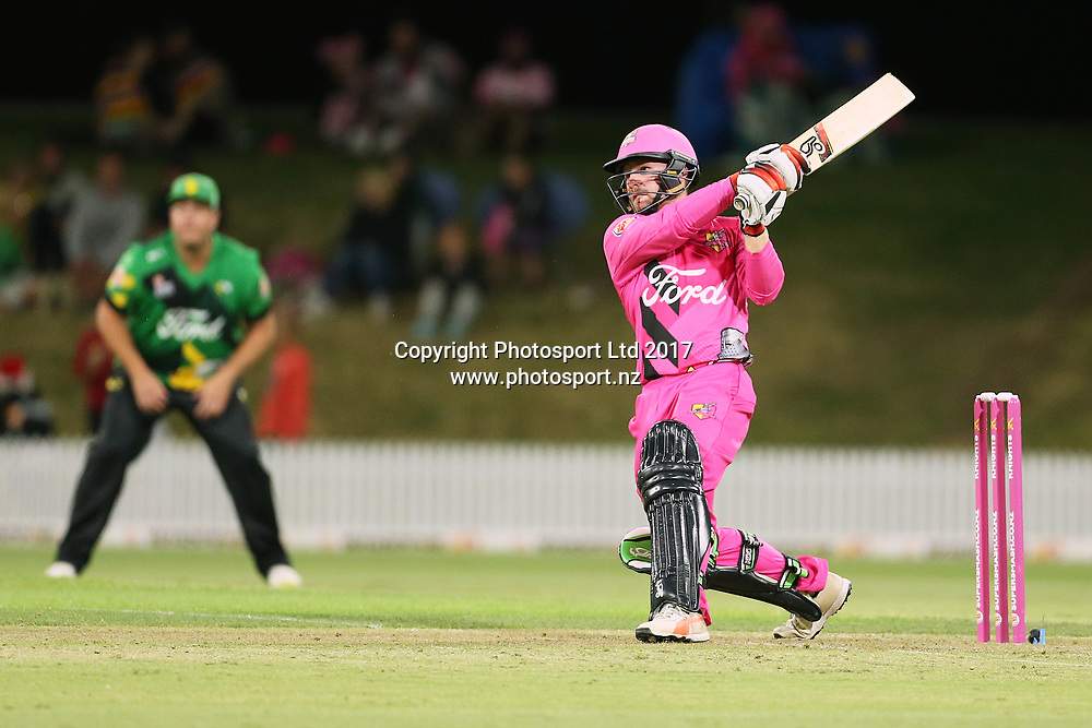 Knights Tim Seifert batting during the Burger King Super Smash Twenty20 cricket match Knights v Stags played at Bay Oval, Mount Maunganui, New Zealand on Wednesday 27 December 2017.<br /> <br /> Copyright photo: © Bruce Lim / www.photosport.nz