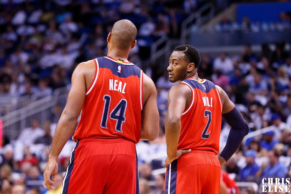 28 October 2015: Washington Wizards guard Gary Neal (14) is seen next to Washington Wizards guard John Wall (2) during the Washington Wizards 88-87 victory over the Orlando Magic, at the Amway Center, in Orlando, Florida, USA.