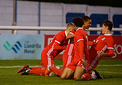 BANGOR, WALES - Monday, October 15, 2018: Wales players celebrate the second goal, scored by Brennan Johnson (3rd from Left), during the UEFA Under-19 International Friendly match between Wales and Poland at the VSM Bangor Stadium. (Pic by Paul Greenwood/Propaganda)