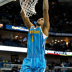 October 29, 2010; New Orleans, LA, USA; New Orleans Hornets small forward Trevor Ariza (1) dunks the ball during the third quarter against the Denver Nuggets at the New Orleans Arena.  Mandatory Credit: Derick E. Hingle