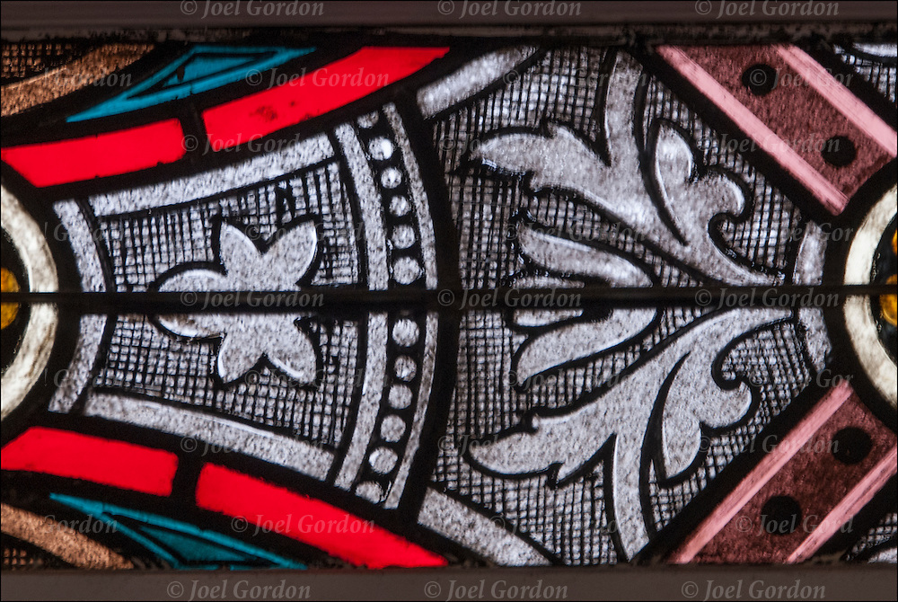 Detail of church stained glass window.