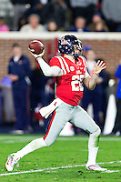 OXFORD, MS - NOVEMBER 26:  Shea Patterson #20 of the Mississippi Rebels throws a pass during a game against the Mississippi State Bulldogs at Vaught-Hemingway Stadium on November 26, 2016 in Oxford, Mississippi.  The Bulldogs defeated the Rebels 55-20.  (Photo by Wesley Hitt/Getty Images) *** Local Caption *** Shea Patterson