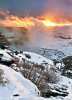 Wintery sunset over Orange Canyon in Canyonlands National Park, Utah.