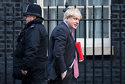 © Licensed to London News Pictures. 08/02/2018. London, UK. Foreign Secretary Boris Johnson arrives on Downing Street ahead of the second part of the Brexit Cabinet meeting. Photo credit: Rob Pinney/LNP