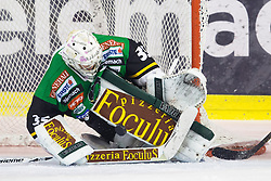 23.10.2012. Hala Tivoli, Ljubljana, SLO, EBEL, HDD Telemach Olimpija Ljubljana vs HC TWK Innsbruck Die Haie, 15. Runde, in picture Jerry Kuhn (HDD Telemach Olimpija, #35) with a save during the Erste Bank Icehockey League 15th Round match between HDD Telemach Olimpija Ljubljana and HC TWK Innsbruck Die Haie at the Hala Tivoli, Ljubljana, Slovenia on 2012/10/23. (Photo By Matic Klansek Velej / Sportida)