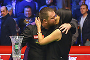 Mark Allen celebrates after winning the Snooker Players Championship Final at EventCity, Manchester, United Kingdom on 27 March 2016. Photo by Pete Burns.