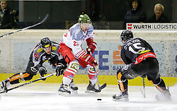 16.02.2016, Messestadion, Dornbirn, AUT, EBEL, Dornbirner Eishockey Club vs HCB Suedtirol, 52. Runde, im Bild v.l. James Arniel, ((Dornbirner Eishockey Club, #09), Markus Gander, (HCB Suedtirol, #23) und Chris D'Alvise, (Dornbirner Eishockey Club, #15)// during the Erste Bank Icehockey League 52th round match between Dornbirner Eishockey Club and HCB Suedtirol at the Messestadion in Dornbirn, Austria on 2016/02/16, EXPA Pictures © 2016, PhotoCredit: EXPA/ Peter Rinderer