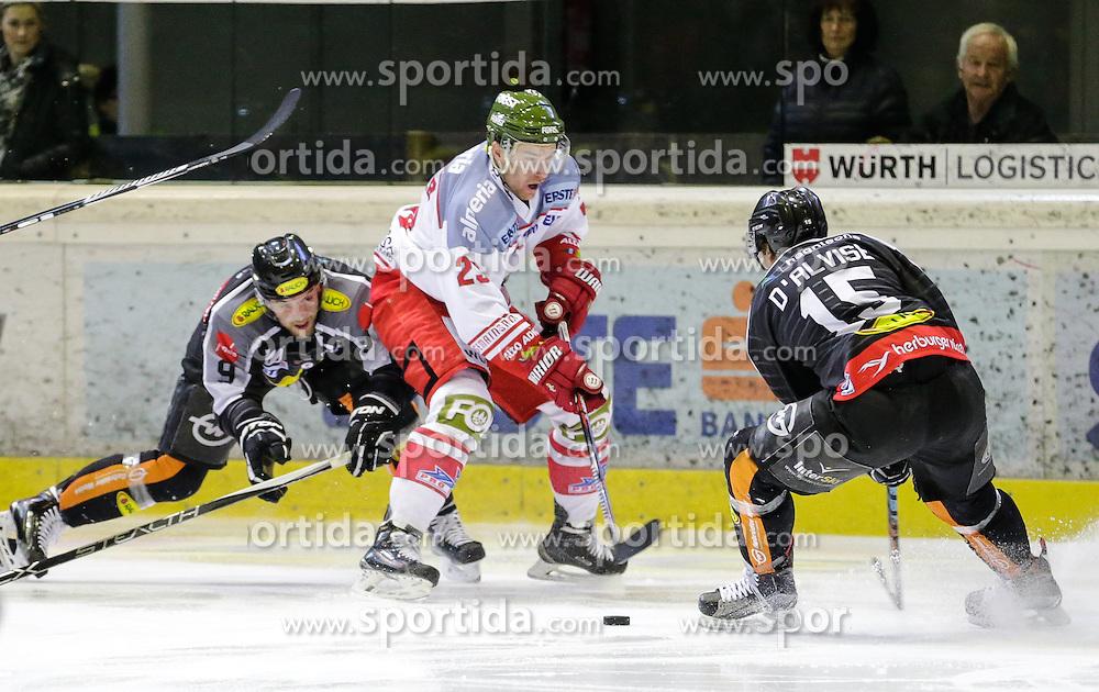 16.02.2016, Messestadion, Dornbirn, AUT, EBEL, Dornbirner Eishockey Club vs HCB Suedtirol, 52. Runde, im Bild v.l. James Arniel, ((Dornbirner Eishockey Club, #09), Markus Gander, (HCB Suedtirol, #23) und Chris D'Alvise, (Dornbirner Eishockey Club, #15)// during the Erste Bank Icehockey League 52th round match between Dornbirner Eishockey Club and HCB Suedtirol at the Messestadion in Dornbirn, Austria on 2016/02/16, EXPA Pictures © 2016, PhotoCredit: EXPA/ Peter Rinderer