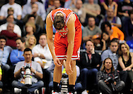 Nov. 14, 2012; Phoenix, AZ, USA; Chicago Bulls center Joakim Noah (13) reacts on the court during the game against the Phoenix Suns at the US Airways Center. The Bulls defeated the Suns 112-106 in overtime. Mandatory Credit: Jennifer Stewart-USA TODAY Sports.