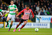Exeter City's Ollie Watkins on an attacking run during the Sky Bet League 2 match between Yeovil Town and Exeter City at Huish Park, Yeovil, England on 9 April 2016. Photo by Graham Hunt.