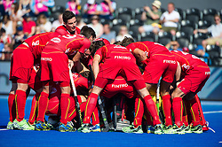 The Belgium huddle before their match against Germany. Belgium v Germany - Unibet EuroHockey Championships, Lee Valley Hockey & Tennis Centre, London, UK on 22 August 2015. Photo: Simon Parker