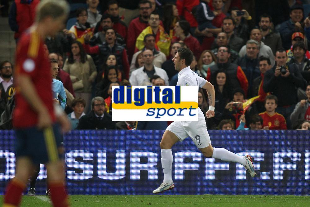 FOOTBALL - FIFA WORLD CUP 2014 - QUALIFYING - SPAIN v FRANCE - 16/10/2012 - PHOTO MANUEL BLONDEAU / AOP PRESS / DPPI -  OLIVIER GIROUD CELEBRATES AFTER SCORING THE EQUALISING GOAL