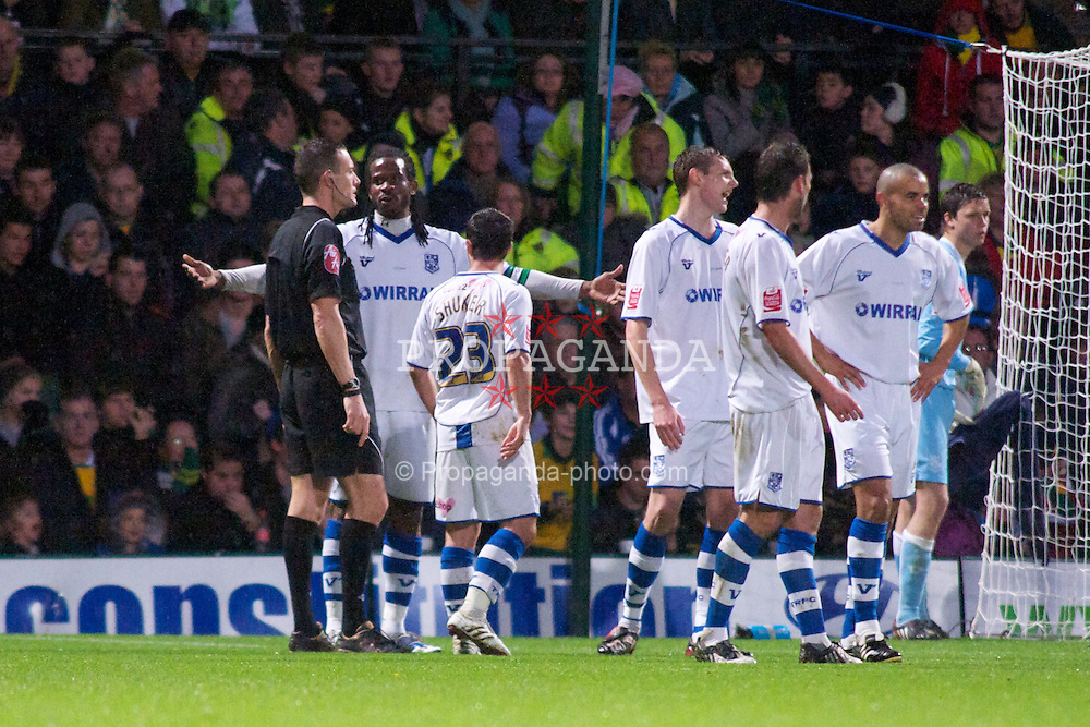 NORWICH, WALES - Saturday, November 14, 2009: Tranmere Rovers' appeal after a penalty is awarded against them for a handball in the game against Norwich City during the League One match at Carrow Road. (Pic by David Rawcliffe/Propaganda)