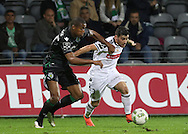 Sporting's player Marvin Zeegelaar(L ) fights for the ball with Nacional´s player Salvador Agra   (R ) during Portuguese First League football match Nacional vs Sporting held at Madeira Stadium, Funchal, Portugal, 13 February, 2016.  LUSA / GREGÓRIO CUNHA
