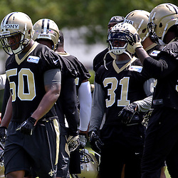May 28, 2015; New Orleans, LA, USA; New Orleans Saints linebacker Stephone Anthony (50) with teammates during organized team activities at the New Orleans Saints Training Facility. Mandatory Credit: Derick E. Hingle-USA TODAY Sports