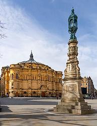View of Bristo Square and the McEwan Hall on Edinburgh University campus in Edinburgh, Scotland UK