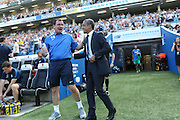 Managers Gary Bowyer and Chris Hughton exchange greetings before kick-off at the Sky Bet Championship match between Brighton and Hove Albion and Blackburn Rovers at the American Express Community Stadium, Brighton and Hove, England on 22 August 2015. Photo by Bennett Dean.