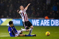Joey Pelupessy of Sheffield Wednesday tackles John Fleck of Sheffield United - Mandatory by-line: Robbie Stephenson/JMP - 09/11/2018 - FOOTBALL - Bramall Lane - Sheffield, England - Sheffield United v Sheffield Wednesday - Sky Bet Championship