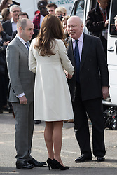 © Licensed to London News Pictures. 12/03/2015. London, UK. HRH the Duchess of Cambridge arrives at Ealing Film Studios in west London today to celebrate the success of the award-winning ITV show Downton Abbey. Photo credit : Vickie Flores/LNP