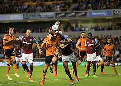 Diogo Jota of Wolverhampton Wanderers tries to get a header on target only to be blocked by Ahmed Elmohamady of Aston Villa - Mandatory by-line: Paul Roberts/JMP - 14/10/2017 - FOOTBALL - Molineux - Wolverhampton, England - Wolverhampton Wanderers v Aston Villa - Skybet Championship