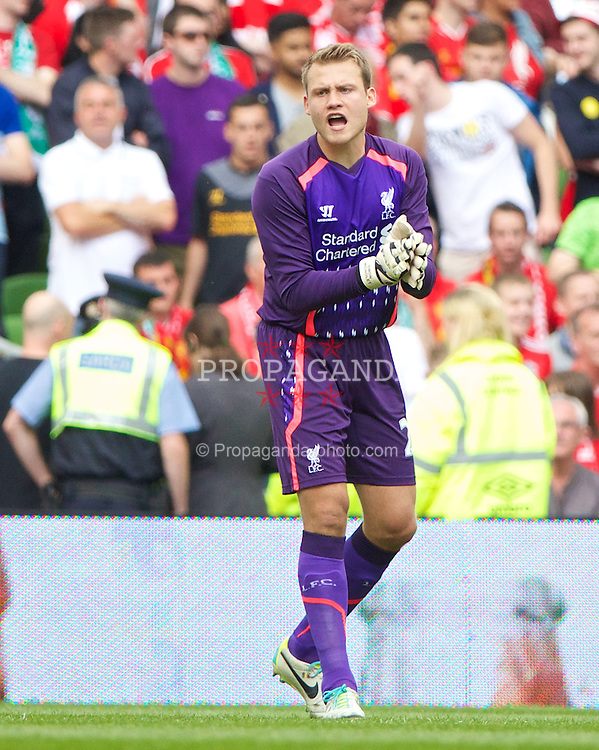 DUBLIN, REPUBLIC OF IRELAND - Saturday, August 10, 2013: Liverpool's goalkeeper Simon Mignolet looks dejected as Glasgow Celtic score the opening goal during a preseason friendly match at the Aviva Stadium. (Pic by David Rawcliffe/Propaganda)