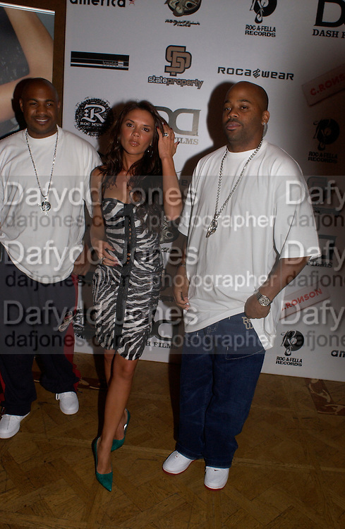 Damon Dash, Victoria Beckham and Biggs, Rocawear UK launch, 5 Cavendish Sq. © Copyright Photograph by Dafydd Jones 66 Stockwell Park Rd. London SW9 0DA Tel 020 7733 0108 www.dafjones.com