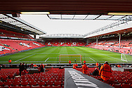 General view of Anfield stadium, home of Liverpool Football Club before the Barclays Premier League match at Anfield, Liverpool<br /> Picture by David Horn/Focus Images Ltd +44 7545 970036<br /> 08/02/2014