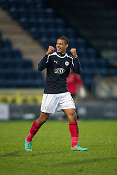 Falkirk's Lyle Taylor cele scoring their second goal..half time : Falkirk v Cowdenbeath, 15/12/2012..©Michael Schofield.