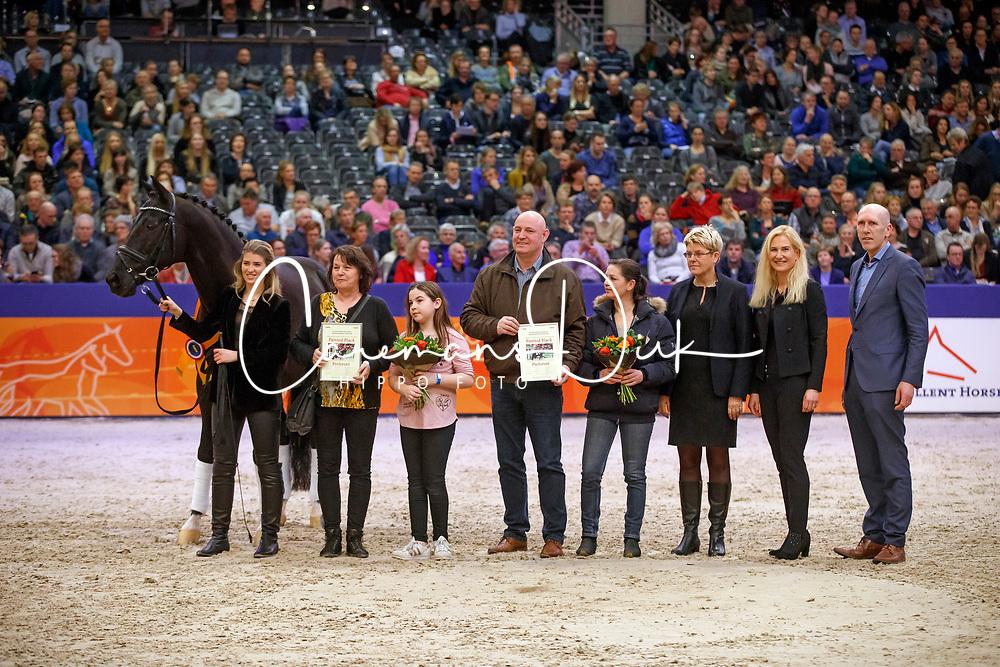 Barbancon Morgan, ESP, Painted Black, Familie Van De Valk, Van Anholt J<br /> KWPN Stallionshow - 's Hertogenbosch 2018<br /> © Hippo Foto - Dirk Caremans<br /> 02/02/2018