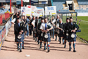 Charities who have been guests of Dundee FC this season paraded around Dens at half time - Dundee v Livingston, Irn Bru Scottish Football League First Division at Dens Park..© David Young - 5 Foundry Place - Monifieth - DD5 4BB - Telephone 07765 252616 - email: davidyoungphoto@gmail.com - web: www.davidyoungphoto.co.uk