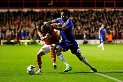 Milan Lalkovic of Walsall and Loic Remy of Chelsea compete for the ball - Mandatory byline: Rogan Thomson/JMP - 07966 386802 - 23/09/2015 - FOOTBALL - Bescot Stadium - Walsall, England - Walsall v Chelsea - Capital One Cup.