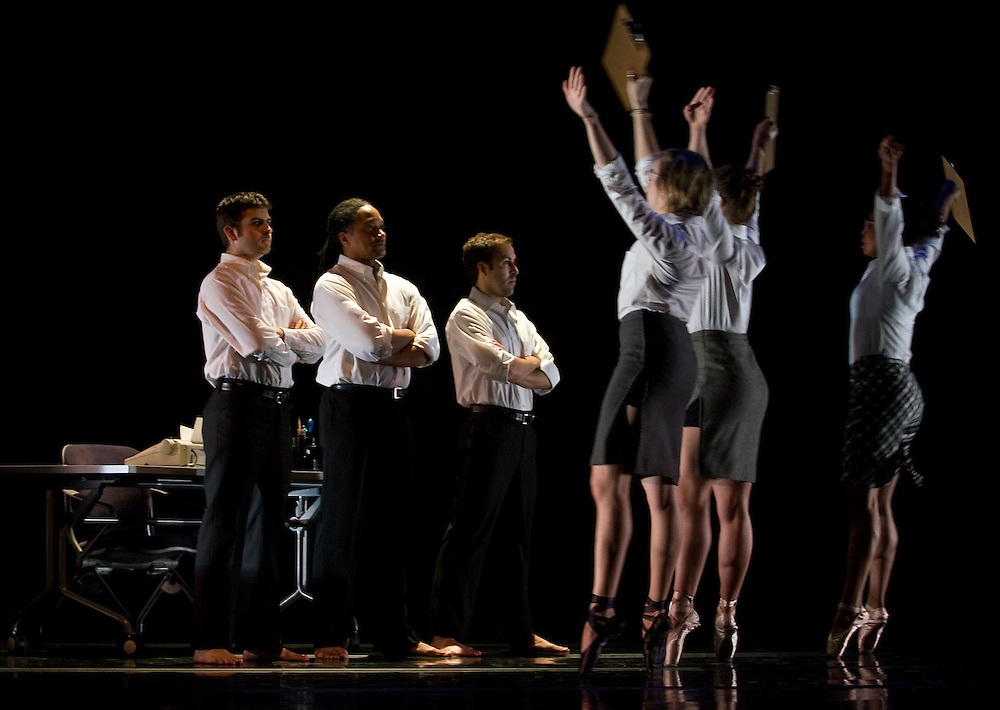"Ohio University School of Dance, (from left) Brandt Laverick, Travis Gatling, Ruben Graciani, Jesse Keller, Juli Van Zant, and Elizabeth Chestang perform on Monday, March 3, 2008, in Elizabeth Baker Theater, Kantner Hall, during a dress rehearsal for ""Office Space,"" a dance piece part of Winter Dance Concert '08."