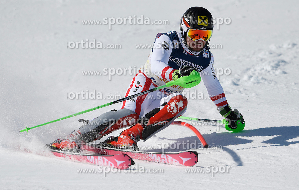 13.02.2017, St. Moritz, SUI, FIS Weltmeisterschaften Ski Alpin, St. Moritz 2017, alpine Kombination, Herren, Slalom, im Bild Marcel Hirscher (AUT, Herren Alpine Kombination Silbermedaille) // men&rsquo;s Alpine Combined Silver medalist Marcel Hirscher of Austria in action during his run of Slalom competition for the men's Alpine combination of the FIS Ski World Championships 2017. St. Moritz, Switzerland on 2017/02/13. EXPA Pictures &copy; 2017, PhotoCredit: EXPA/ Sammy Minkoff<br /> <br /> *****ATTENTION - OUT of GER*****