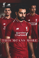 LIVERPOOL, ENGLAND - Thursday, April 19, 2018: A hand-out image from Liverpool Football Club of their new 2018-19 season kit designed by New Balance with a tipped two-button polo collar featuring Mohamed Salah (centre), Dominic Solanke (left) and Joel Matip (right). (Pic by Pool/Liverpool Football Club via Propaganda)
